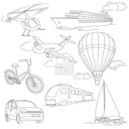 Illustration for Travel transport vector set with car, air-balloons, ships, bike, helicopter, ufo and train - Royalty Free Image