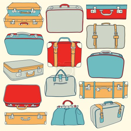 Vector Collection of vintage suitcases