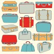 Vector Collection of vintage suitcases. Travel Ill...