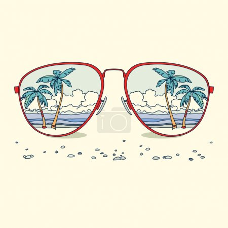 Illustration for Reflection of the beach, palm trees, beach in sunglasses. Vector background - Royalty Free Image