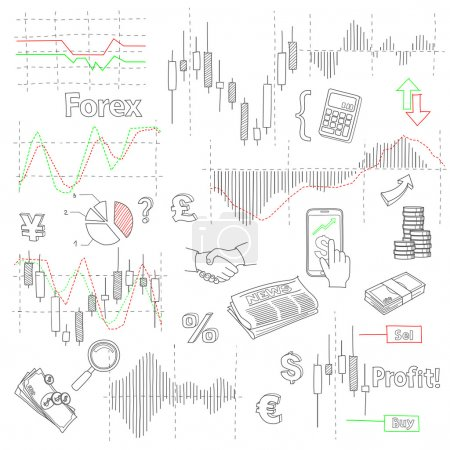 Forex market hand drawn vector background with business, financial data and diagrams