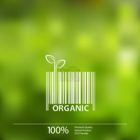 Illustration for Vector blurred nature background with eco barcode label of Organic Farm Fresh Food. - Royalty Free Image