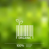 Vector blurred nature background with eco barcode label of Organic Farm Fresh Food