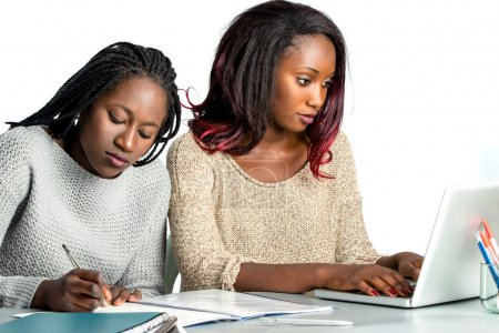 Photo for Close up portrait of two female african teen students working doing homework together.Girl with braids hair writing with pen in notebook and another girl typing on laptop.Isolated on white background. - Royalty Free Image