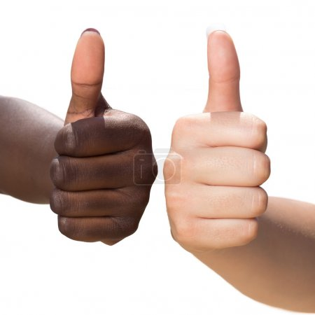 Photo for Macro close up of two female hands doing thumbs up symbols on white background - Royalty Free Image