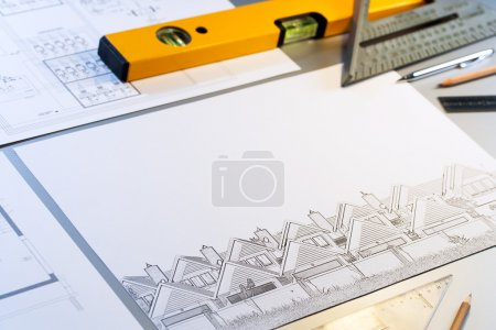 Architectural plans  with tools.