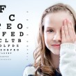 Close up portrait of Girl reviewing eye sight clos...