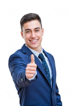 Photo for Close up portrait of Young Businessman in suit doing thumbs up. Young smiling business student Isolated on white background. - Royalty Free Image