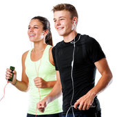 Teen couple doing fitness workout