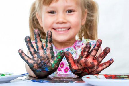 Photo for Funny girl with painted hands - Royalty Free Image
