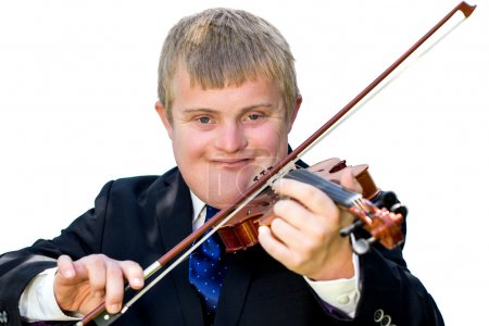 Photo for Close up portrait of young man with down syndrome playing violin. Handicapped boy violinist in suit isolated against white background. - Royalty Free Image