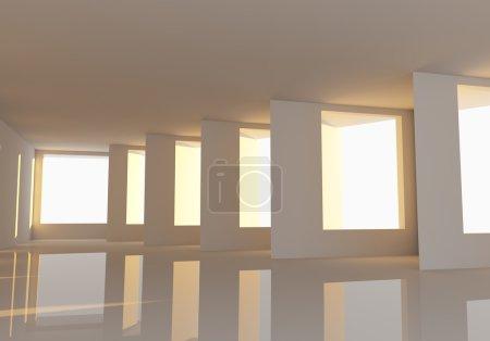 Foto de Ventanas y la pared abstracto habitación vacía decoración reflexión suelos con el sol brilla en la habitación. - Imagen libre de derechos