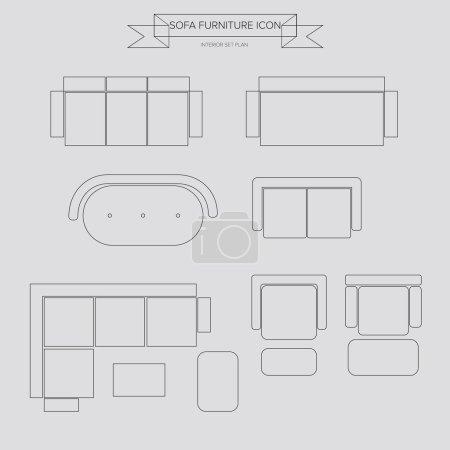 Sofa Furniture outline Icon