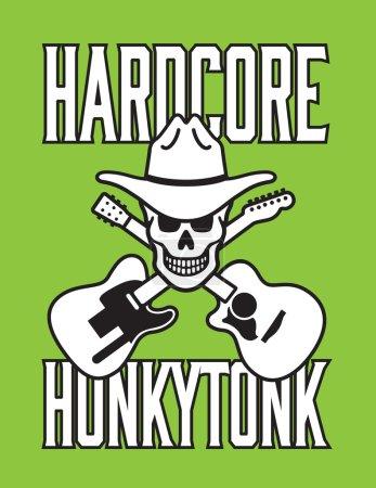 Hardcore Honkytonk Skull Vector Design
