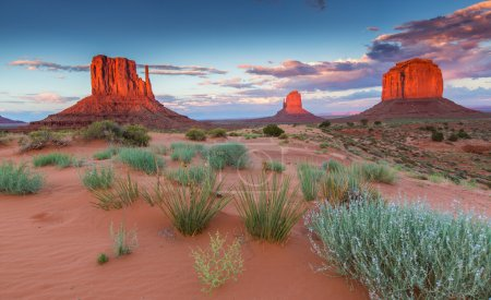 Photo for Monument Valley, Arizona, scenery, profiled on sunset sky, in summer - Royalty Free Image