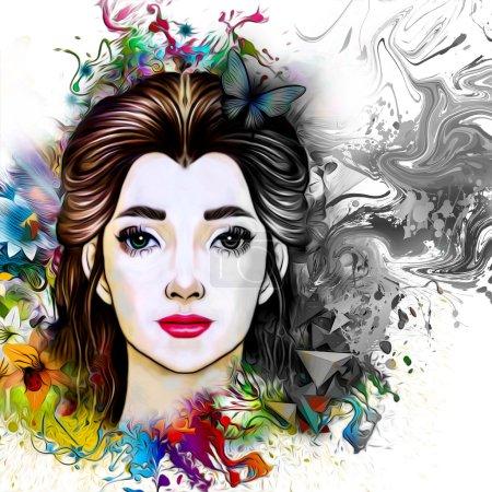 Photo pour Beau modèle féminin avec floral abstrait coloré avec des papillons - image libre de droit