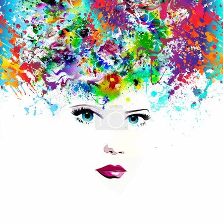 Photo pour Beau modèle féminin avec fond coloré abstrait - image libre de droit