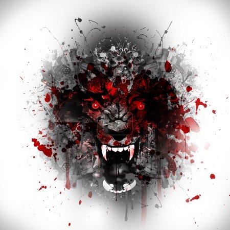 Bloody werewolf abstract background...