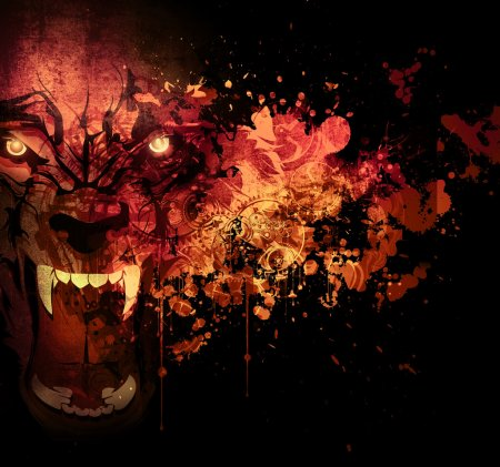 Bloody werewolf illustration abstract background...