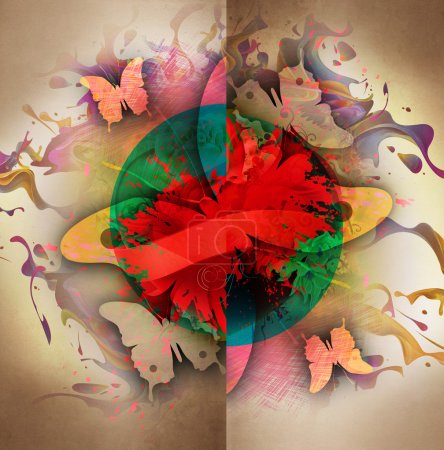 Photo for Abstract colorful bright background with butterflies - Royalty Free Image