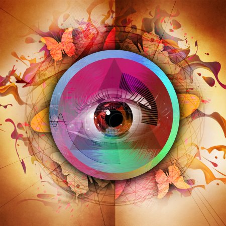 Eye on colored background