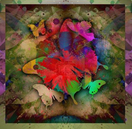 Foto de Fondo brillante colorido abstracto con mariposas - Imagen libre de derechos