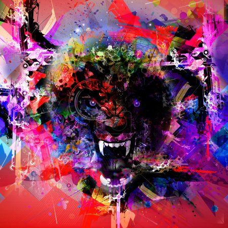 Photo for Bloody werewolf abstract background - Royalty Free Image