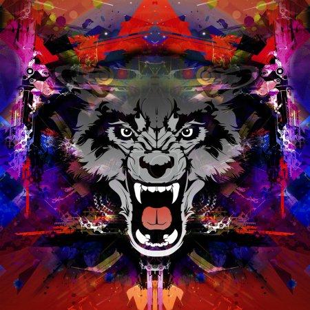 Photo pour Tête de loup en colère sur fond abstrait coloré - image libre de droit