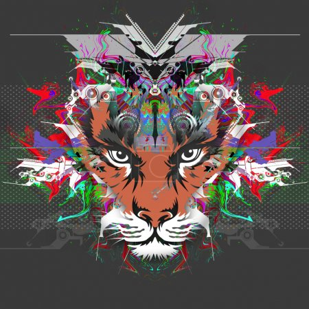 Photo for Abstract colorful illustration of tiger with paint splashes - Royalty Free Image