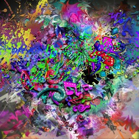 Foto de Señales de música colorido brillante sobre fondo abstracto - Imagen libre de derechos