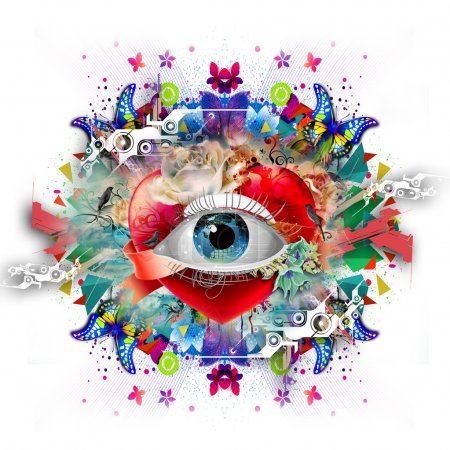 Photo pour Oeil abstrait avec des papillons et des fleurs sur un fond blanc - image libre de droit