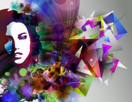 Photo pour Visage de femme sur fond coloré futuriste - image libre de droit