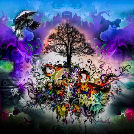 Photo pour Abstrait multicolore Arbre avec racines, éléments floraux et oiseau - image libre de droit