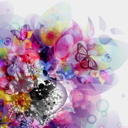Photo pour Floral abstrait avec des papillons - image libre de droit