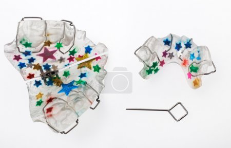 Multicolored orthodontic appliance for a child