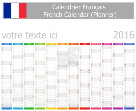 2016 French Planner Calendar with Vertical Months