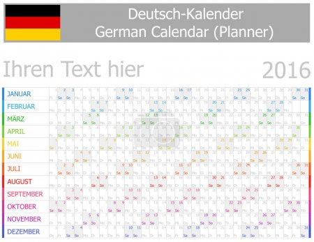 2016 German Planner-2 Calendar with Horizontal Months