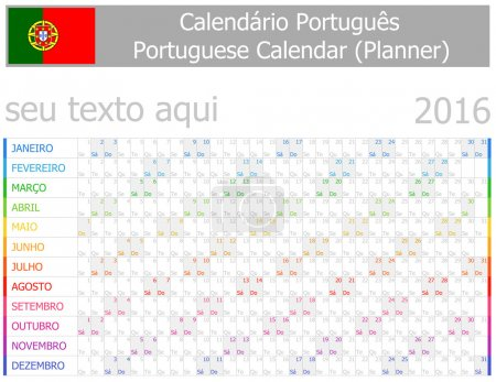 2016 Portuguese Planner-2 Calendar with Horizontal Months