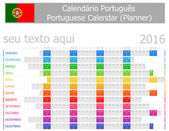 2016 Portuguese Planner Calendar with Horizontal Months on white background