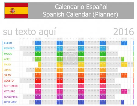 2016 Spanish Planner Calendar with Horizontal Months