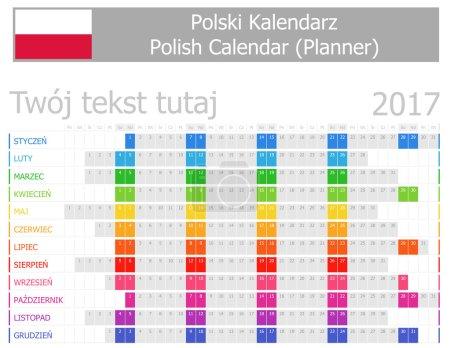 2017 Polish Planner Calendar with Horizontal Months