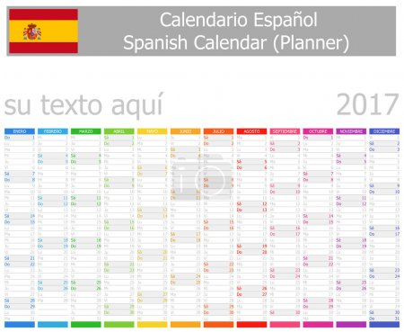 2017 Spanish Planner Calendar with Vertical Months