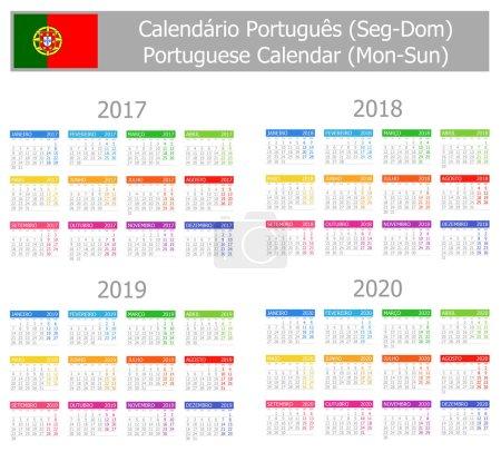 2017-2020 Portuguese Type-1 Calendar Mon-Sun