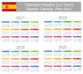 2017-2020 Spanish Type-1 Calendar Mon-Sun