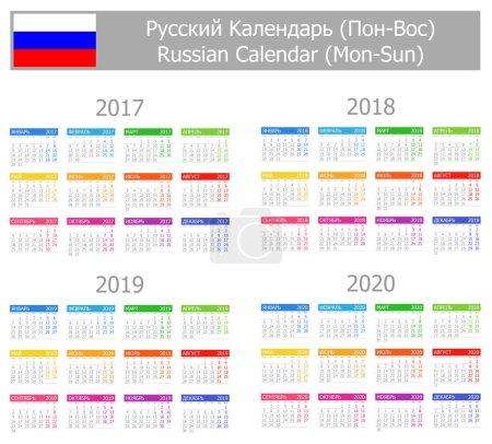 2017-2020 Russian Type-1 Calendar Mon-Sun