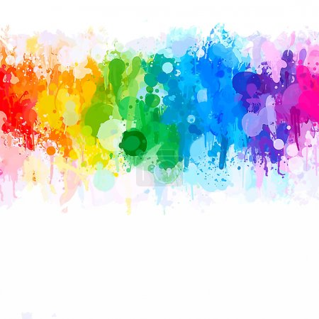 Illustration for Rainbow watercolor brush strokes background. Vector version - Royalty Free Image