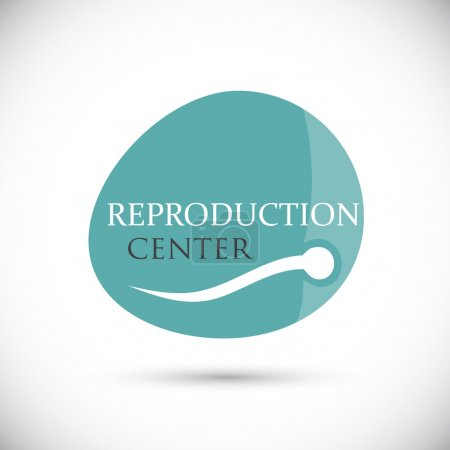 Illustration for Flat logo. Sperm swimming in shape egg. Concept of restore the reproductive functions of the body. Isolated vector on white background - Royalty Free Image