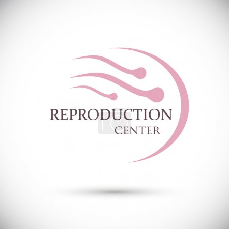 Illustration for Sign group sperm swimming to egg. Logo. Clinic to restore the reproductive functions of the body. Isolated vector on white background - Royalty Free Image