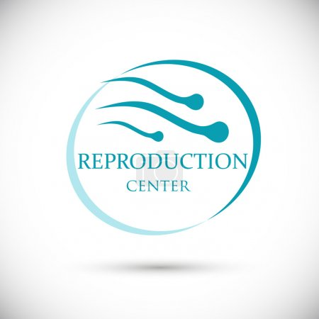 Illustration for Logo reproduction center. Group sperm swimming in ring shape. Isolated vector on white background - Royalty Free Image