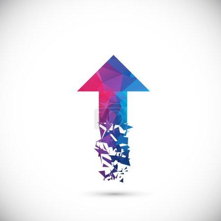 Colorful polygonal arrow flies upward